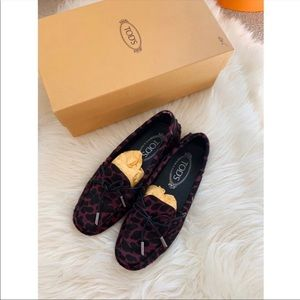 Tod's leopard calf hair loafers